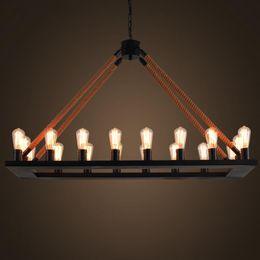 $enCountryForm.capitalKeyWord Australia - Hemp Rectangle retro Pendant lights industrial wind 18head Pendant lamps For restaurant clothing store Art decor Suspension