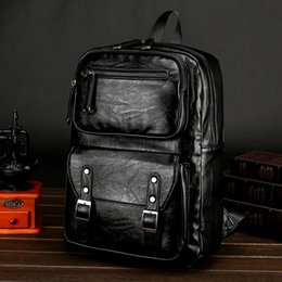 Korea Leather Man Bag Australia - Black Men's Genuine Cow Leather Backpack 15 inch Laptop MaleSchool Bag Men Daypacks Korea Style Casual Travel Business Bag