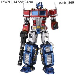 diy boys toys UK - 3D metal puzzles DIY cool boy toy and gift Robot Optimus prime color model difficul assembly