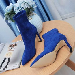 blue matte heels NZ - Brand Women Shoes Free Shipping Winter High Heel Boots BOTTOM Black Matte Pointed Toes Black High Heels Boots Leather Include Box jasmine11