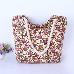 $enCountryForm.capitalKeyWord Australia - Women Casual Bag Owl Printing Handbag Totes Large Capacity Book Shoulder Bags For Teenage Girls Canvas Shopping Bag Ladies