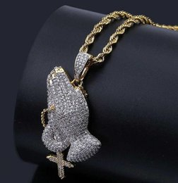 $enCountryForm.capitalKeyWord Australia - 18K Gold Plated Christian cross prayer gesture vintage necklace Lad Diamond hip hop hipster men and women pendant