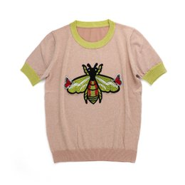 Knitted Shorts Pattern Australia - Woman's short-sleeved clothes Small Bee Pattern T T-shirt Female Sleeve Embroidery Butterfly Ice Knitting Blouses Short Summer Thin