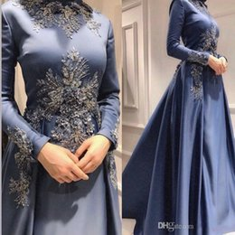 MusliM bridal evening gowns online shopping - evening gowns Arabic Muslim D Floral Appliques High Neck Long Sleeve Crystals Detachable Skirt A Line Formal Prom Party Bridal Gowns
