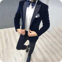 $enCountryForm.capitalKeyWord NZ - Latest Designs Blue Velvet Groom Tuxedos Men Suits for Wedding Black Peaked Lapel Casual Smoking Jacket Wool Blend Pants 2Piece Man Blazer