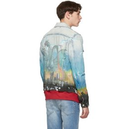 $enCountryForm.capitalKeyWord UK - 19SS DISTRESSED DENIM TRUCKER JACKET DRAGON AIRBRUSH MURAL Washing Embroidery Blue Jacket Men Women Couples Designer Coat HFWPJK148