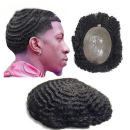 Vente en gros TKWIG perruques afro-américaines pour hommes Invisible PU Base Jet Noir Afro Cheveux Hommes Toupee 8x10 Hommes Unité Systèmes Perruques Cheveux