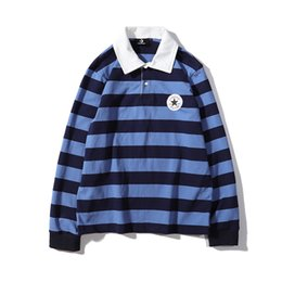 $enCountryForm.capitalKeyWord UK - 19SS retro trend classic sweater cons iconic logo applique embroidered polo collar long sleeve striped shirt Novelty Top quality Pullover
