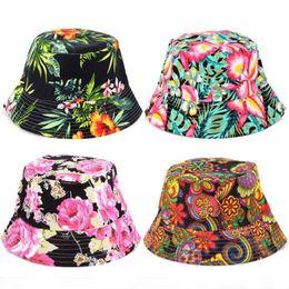 Blue Hats For Girls Australia - Women Floral Sun Hat Design Summer Beach Flower Canvas Boonie Fisherman Hats Sun Protection Fishing Bucket Hat Cap For Girl