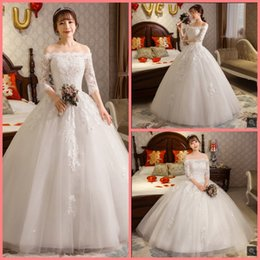 Hot Sexy White Dresses Australia - Robe de mariage 2019 ball gown white lace appliques wedding dress off the shoulder half sleeve sexy elegant puffy wedding gowns hot sale