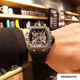 Hollow Fiber Australia - Mens watches movement hollow movement, wear-resistant carbon fiber, equipped with 6T51 luxury watch Montre DE luxe