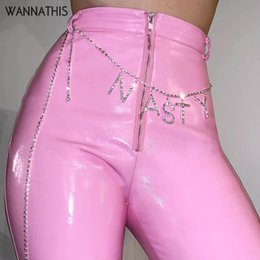 White Flared Trousers Australia - WannaThis Leather PU Flare Pants Split Pink White Sexy Casual High Wasit Bodycon Slim Women Fashion Spring Summer Trouser