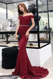 Wholesale Dark Red Mermaid Long Evening Dress New Arrival Off the Shoulder Simple Elegant Women Formal Prom Party Gowns Custom Made