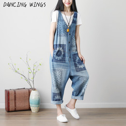 jumpsuits suspenders NZ - Spring Summer Sleeveless Jumpsuits Washed Printing Bib Pants Women Overalls Loose Casual Hole Denim Suspender Jumpsuit T5190614