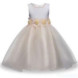 China Girls Lace Princess Dress Round Neck Sleeveless Flower Mesh Party Dress Bow Waist Girls Designer Dress suppliers