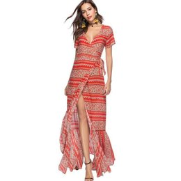 e52ad26236c Boho Wrap Dress Summer Women Sexy Long Maxi Beach Dress Sash Bow Tie Floral  Print Casual Chiffon Dresses Retro Vestidos 2019