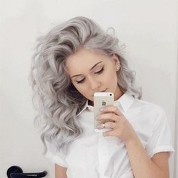 $enCountryForm.capitalKeyWord Australia - New 180% Density Layered Sliver Grey Loose Wave Synthetic Hair Lace Front Wig Glueless Heat Resistant Fiber Natural Hairline Wigs For Women