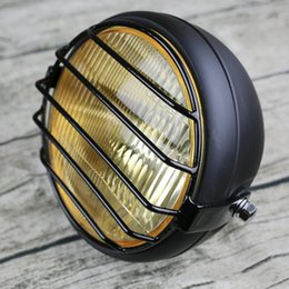 HeadligHts custom online shopping - 6 inch Universal Vintage Motorcycle head light yellow glass vintage custom headlight V W H4 CCCs certifited headlamp