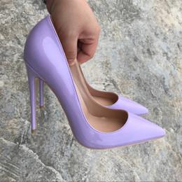 $enCountryForm.capitalKeyWord Australia - Women Pumps Purple Shoes Woman 8 10 12CM High Heels Sexy Wedding Shoes Fashion Red bottom Patent Leather Female Bride Shoes for Women