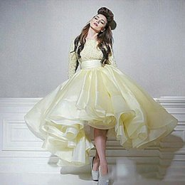 Formal Evening Gowns Australia - 2019 Yellow Ball Gown Arabic Prom Dresses Jewel Neck Long Sleeves Organza High Neck Lace Formal Evening Party Dresses DP0150