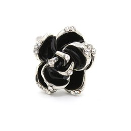 indexing plates Australia - Hot Sale Fashion Jewelry Rings Black Rose Flower Opening Rings Index Finger Adjustable For Woman Girls Party Jewelry Gifts