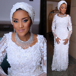 3d lace wedding dresses Australia - Fashion 3D Floral Lace Appliques Arabic Bridal Gown Traditional Long Sleeves Crew Neck Beaded African Sheath Wedding Dresses Vestidos AL3175