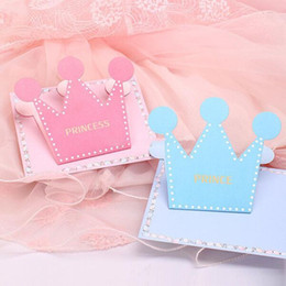 prince crowns Canada - Prince Princess Crown Shaped Birthday Party 2020 Invitation Card Pink Blue Color Greeting Cards with Envelope