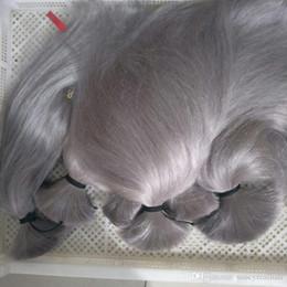 $enCountryForm.capitalKeyWord Australia - Elibess Brand--Human Hair Bulk no weft Top Grade Indian Peruvian Brazilian Silk Straight Hair Extension 300gr Silver Gray color