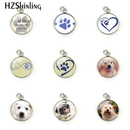 wholesale paw print Australia - New Love Paw Prints Pendant Dog Lovers Glass Cabochon Stainless Steel Jewelry Charm Christmas Gift for Children for Friend
