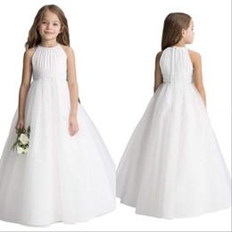 $enCountryForm.capitalKeyWord Australia - Simple Wedding Flower Girls' Dresses Puffy Tutu 2020 Toddler Little Girls Pageant Communion Dress Blue Pink white Cheap