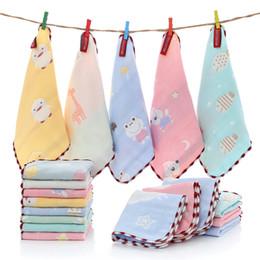 $enCountryForm.capitalKeyWord Australia - 6 Layer muslin gauze square bibs Cotton towel baby boys girls printed Kindergarten small handkerchief children Burp Cloths B11
