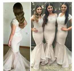 asymmetrical dress skirt NZ - 2 Style Mermaid Bridesmaid Dresses Asymmetrical Style Skirt Lace Top Short Bridesmaid Dresses With Short sleeve Wedding Party Gowns