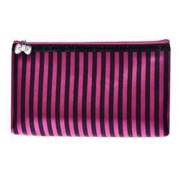Chinese  Cosmetic Bag Stripe Portable Storage Makeup Bag leather cosmetic purse organizer small makeup toiletry kit travel pouch manufacturers