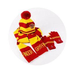 Kids glove striped online shopping - Harry Potter Pompom Hat Scarf Gloves Set Hogwarts Magic School Striped Badge Pom Hat Gryffindor Slytherin Ravenclaw Scarf Kids HHA383