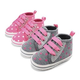 Baby Canvas Shoe Wholesale Australia - Newborn Baby Canvas Shoes Love Embroidered Elastic Band Dot Print Toddler First Walker
