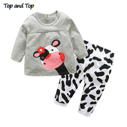 a328f487e0b6f Hot sale spring autumn baby girl clothes casual long-sleeved T-shirt+Pants  suit Tracksuit the cow suit of the girls Y18120801