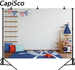 spray painted backdrop 2019 - Capisco photography backdrop wooden sailing boat Carpet kid navigation party background photocall photo studio for a pho