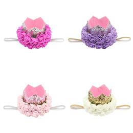 Double crown hair online shopping - Children s Birthday Crown Baby Hair Accessories Belt Glitter Thick Onion Double decked Flower Headbands for Girls Diadema