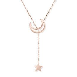 Titanium Moon Pendant Australia - High quality New Women's Star Moon Pendant Necklaces Titanium steel personality clavicle Star pendant chain pendant gif