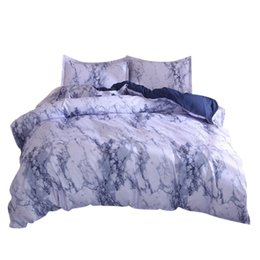 Light Pink Bedding Sets UK - Sheet +2Pillowcase Simple Marble Bedding Duvet Cover Set Quilt Cover Twin King Size With Pillow Case Blue Bedding Set New F22
