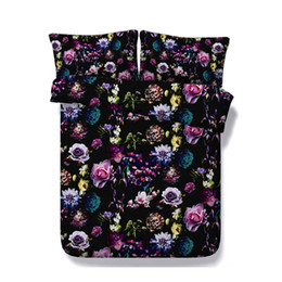$enCountryForm.capitalKeyWord UK - Floral Soft Black Bedding Set Blossom Comforter Quilt Cover Garden Flower Duvet Cover Butterfly Bedspread Women Girl Colorful Rose Bed Cover