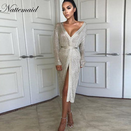 Knit Party Dress NZ - Nattemaid Autumn Stretchable Midi Sexy Dress Women Hollow Out Casual Club Dresses Elegant Party Evening Knitted Dress Vestidos T3190610