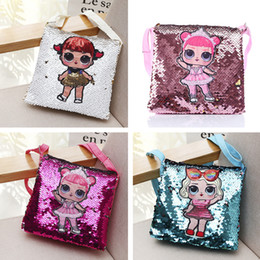Cute Chain letters online shopping - Cute Cartoon Coin Pouch Sequins Surprise Girls Chain Bag Women Girls Cosmetic Bag Kids Wallet Sequined Back Pack Handbags Purses C71803