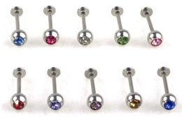 $enCountryForm.capitalKeyWord Australia - Wholesale-Wholesale 10Pcs lot Bulk Crystal Stainless Steel Lip Chin Labret Ring Bar Stud Tragus Ball Body Piercing Unisex Labret Piercing