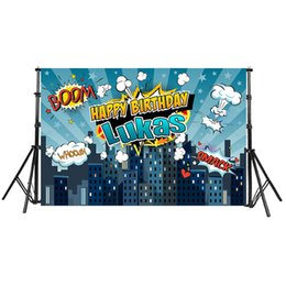 Chinese  Superhero City Theme Photography Backdrop Cartoon blast Children Birthday Party Backdrop for Photo Studio Background Custom manufacturers