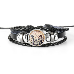 12 Wraps NZ - Unique 12 Constellations Zodiac Virgo Time Gem Glass Cabochon Black Leather Rope Beaded Wrap Bracelet Handmade Bohemian Weaving Jewelry Gift