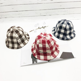 Boys Visor Australia - Baby hats 1-3Y Korean Kids plaid printed bucket hat sun hats boy girl fisherman fitted hat fashion children princess cap designer caps visor