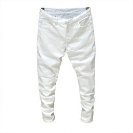 White Stretch Pants Australia - 2019 Men Stretch Jeans Fashion white black Denim Trousers For Male Spring And Autumn Retro Pants Casual Men's Jeans size 27-36
