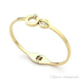 $enCountryForm.capitalKeyWord Australia - 2017 fashion women carter women bangle Screw mark stainless steel and 18K gold plated spring buckle with ziron for women gift