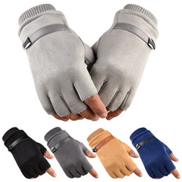 mens warm leather gloves NZ - Winter Warm Driving Cycling Working Gloves Mens Fingerless Suede Leather Gloves Elastic Outdoor Grip Gripper Bike Mittens